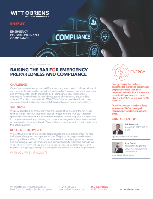 Case Study Large Oil Gas Operator Energy EHS Compliance