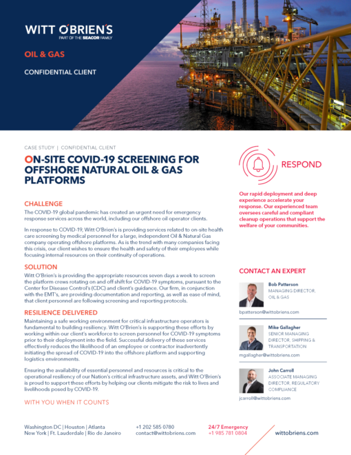 Case Study Oil Gas Company COVID 19